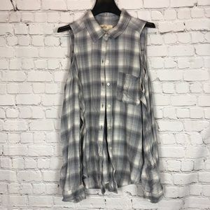 Hollister Gray White Cold-Shoulder Shirt